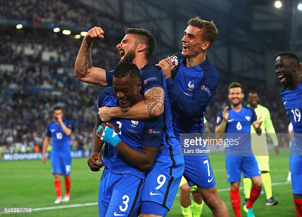 Patrice Evra Olivier Giroud and Antoine Griezmannof France celebrate their team's 20 win in the UEFA EURO semi final match between Germany and France...