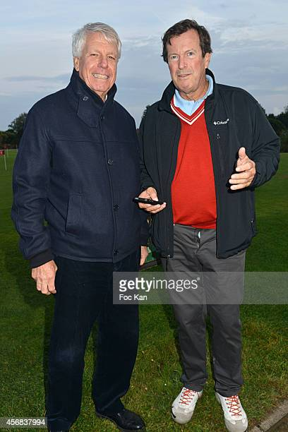 Patrice Hagelauer and Hubert Auriol attend the 'Tee Break Gourmand' Auction Golf Competition hosted by Matrix to benefit SOS Gazelles at the Golf d'...