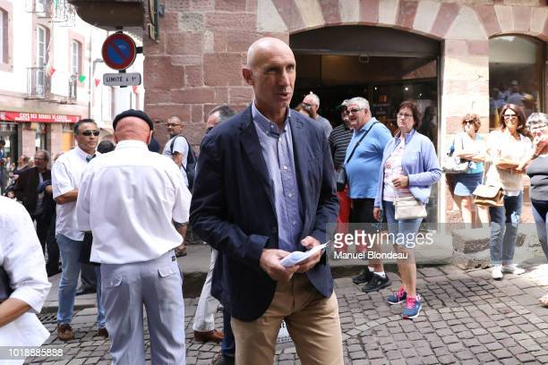 Patrice Lagisquet is seen at the burial of Pierre Camou in Saint Jean Pied de Port during the Funeral of former rugby player Pierre Camou on August...