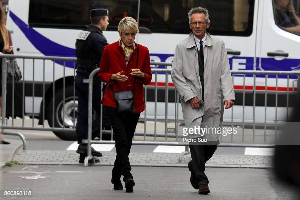 Patrice Leconte and Agnes Beraud arrive at Jean Rochefort's Funeral At Eglise SaintThomas D'Aquin on October 13 2017 in Paris France