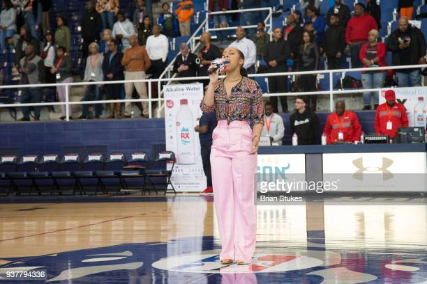 Patrice Live sings national anthem for Master P's Global Mixed Gender Basketball League Diabetes Health Initiative at Howard University Burr...