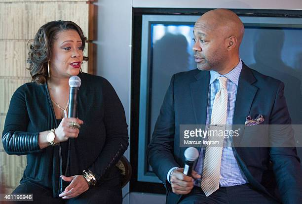 Patrice Lovely and Palmer Williams Jr attend a press lunch with the cast of Tyler Perry's The Haves The Have Nots Love Thy Neighbor at the Twelve...