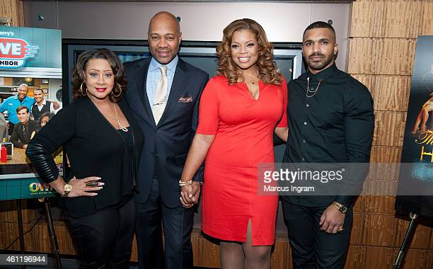 "Patrice Lovely, Palmer Williams Jr., Kendra C. Johnson, and Tyler Lepley attend a press lunch on the new season premiere of Tyler Perry's ""The Haves..."