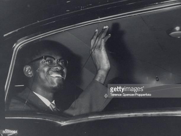 Patrice Lumumba waving
