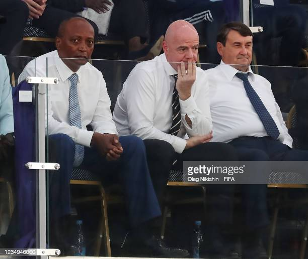 Patrice Motsepe, President of the Confederation of African Football , and Gianni Infantino, President of FIFA look on prior to the FIFA Beach Soccer...