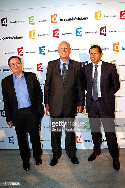 Patrice Papet Remy Pfimlin and Fabrice Lacroix attend the 'Rentree De France Televisions' at Palais De Tokyo on August 26 2014 in Paris France