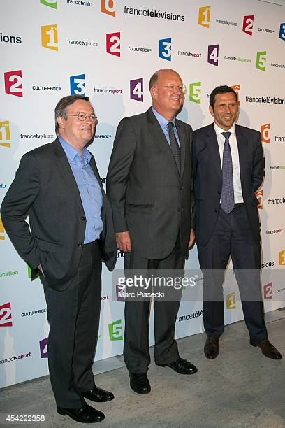 Patrice Papet Remy Pflimlin and Fabrice Lacroix attend the 'Rentree de France Televisions' at Palais De Tokyo on August 26 2014 in Paris France