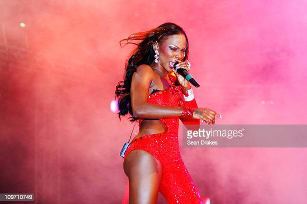 Patrice Roberts performs at The Return Concert at Hasely Crawford Stadium on February 28 2011 in Port of Spain Trinidad