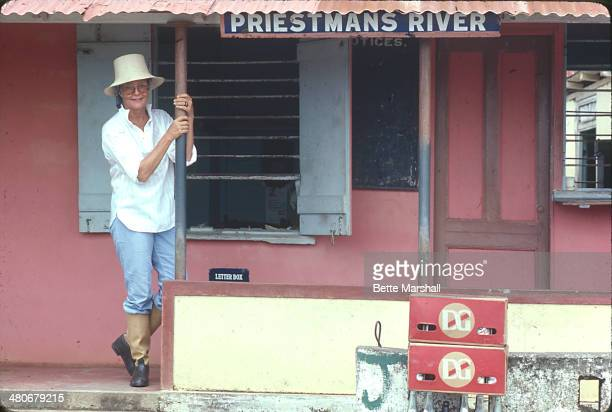 Patrice Wymore Flynn is seen at the Priestman's River post office and bank circa July 1980 in Portland Jamaica