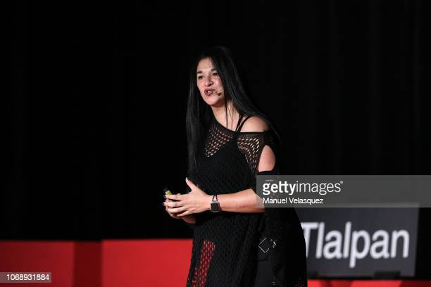 Patricia Anaya talks during a TED talk as part of TEDxTlalpan Awkward at UVM Campus Coyoacan on November 17 2018 in Mexico City Mexico