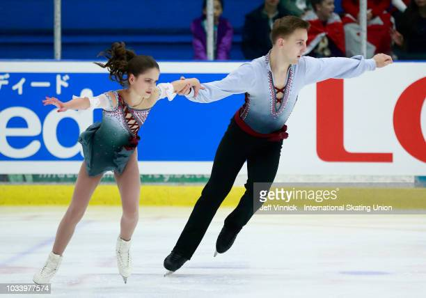 Patricia Andrew and Paxton Fletcher of Canada perform during their junior pairs final skate at the 2018 Junior Grand Prix of Figure Skating on...