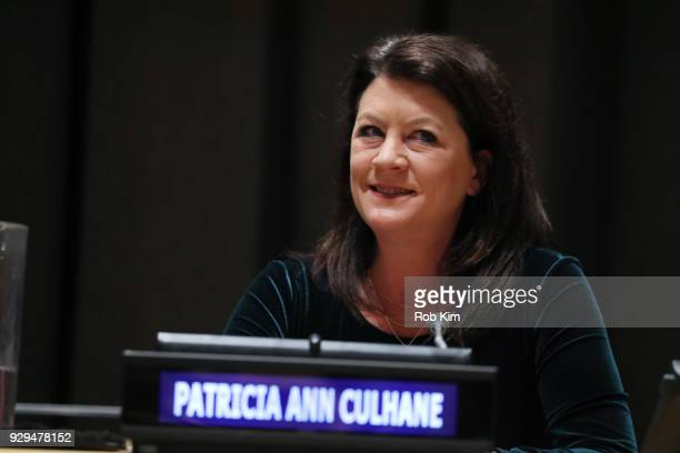 Patricia Anne Culhane attends International Women's Day The Role of Media To Empower Women Panel Discussion at the United Nations on March 8 2018 in...