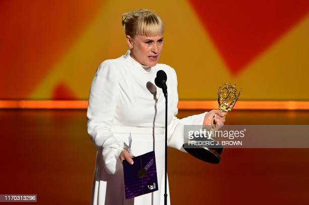 """Patricia Arquette accepts the Outstanding Supporting Actress in a Limited Series or Movie award for """"The Act"""" onstage during the 71st Emmy Awards at..."""