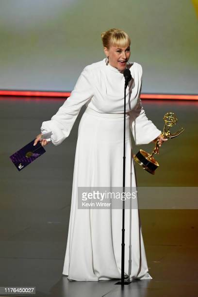 Patricia Arquette accepts the Outstanding Supporting Actress in a Limited Series or Movie award for 'The Act' onstage during the 71st Emmy Awards at...