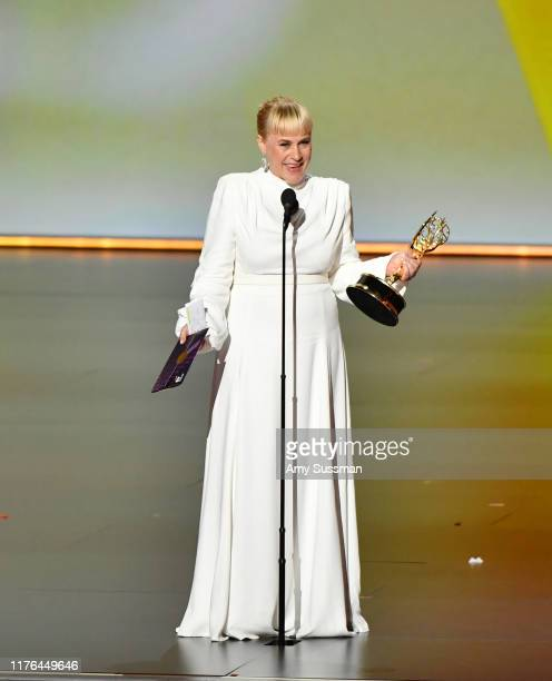 "Patricia Arquette accepts the Outstanding Supporting Actress Limited Series or TV Movie for ""The Act"" onstage during the 71st Emmy Awards Supporting..."
