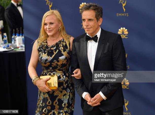 Patricia Arquette and Ben Stiller attend the 70th Emmy Awards at Microsoft Theater on September 17 2018 in Los Angeles California