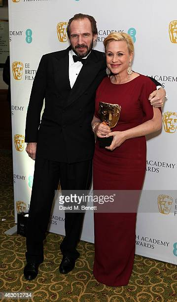 Patricia Arquette and Ralph Fiennes attends the after party for the EE British Academy Film Awards at The Grosvenor House Hotel on February 8 2015 in...