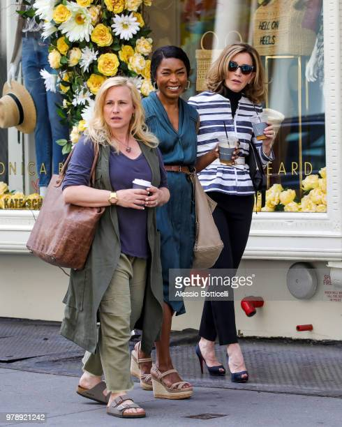 Patricia Arquette Angela Bassett and Felicity Huffman are seen filming new movie 'Otherhood' in SoHo on June 19 2018 in New York New York