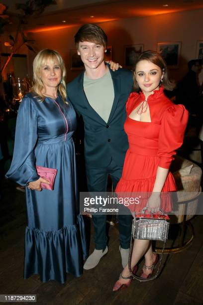 Patricia Arquette, Calum Worthy and Joey King attend the Hulu LA Press Party 2019 at Spago on November 12, 2019 in Beverly Hills, California.