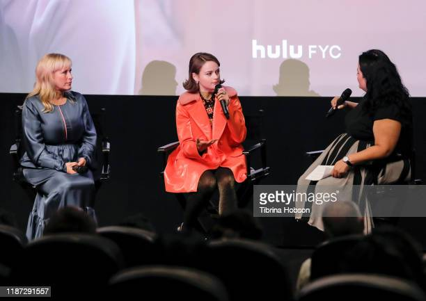 Patricia Arquette Joey King and Jenelle Riley attend SAGAFTRA's QA for Hulu's 'The Act' at The London Hotel on November 12 2019 in West Hollywood...