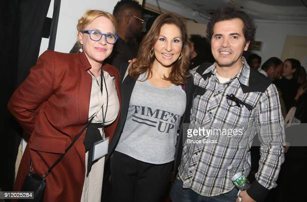 Patricia Arquette Kathy Najimy and John Leguizamo pose backstage at 'The People's State Of The Union' at Town Hall on January 29 2018 in New York City