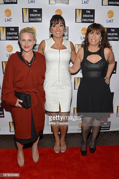 Patricia Arquette Lani Hay and Robin Bronk attend the Celebrating The Arts In American Dinner Party With Distinguished Women In Media Presented By...