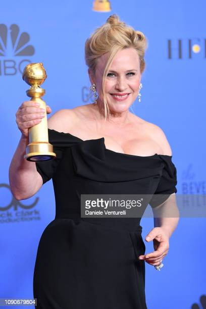 Patricia Arquette poses in the press room during the 75th Annual Golden Globe Awards at The Beverly Hilton Hotel on January 06 2019 in Beverly Hills...