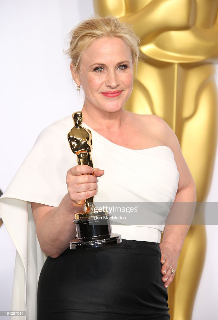 Patricia Arquette poses in the press room with her award for Best Supporting Actress at the 87th Annual Academy Awards at Hollywood & Highland Center on February 22, 2015 in Los Angeles, California.