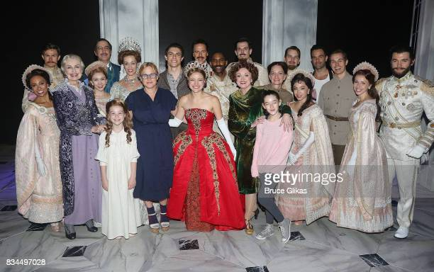 Patricia Arquette poses with the cast backstage at the hit musical 'Anastasia' on Broadway at The Broadhurst Theatre on August 17 2017 in New York...