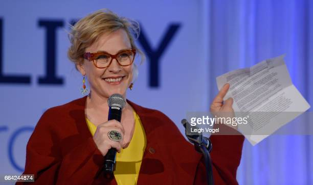 Patricia Arquette receives a Salesforce Equality Award at the National Museum of Women in the Arts on April 3 2017 in Washington DC