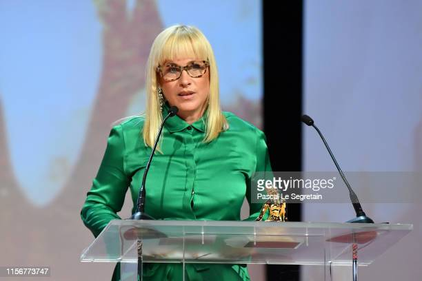 Patricia Arquette speaks on stage during the closing ceremony of the 59th Monte Carlo TV Festival on June 18, 2019 in Monte-Carlo, Monaco.