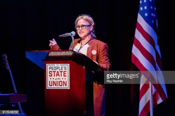 Patricia Arquette speaks onstage during The People's State Of The Union at Town Hall on January 29 2018 in New York City