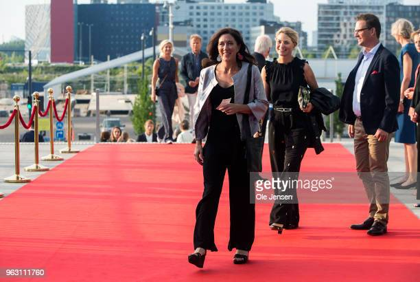 Patricia Bailey sister of Crown Princess Mary of Denmark during arrival to the live broadcast of the TV show 'All of Denmark celebrates The Crown...