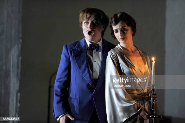 Patricia Bardon as Arsace Sarah Tynan as Partenope and James Laing as Armindo in English National Opera's production of George Frideric Handel's...