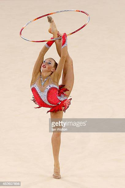 Patricia Bezzoubenko of Canada competes in the Team Final and Individual Qualification at SECC Precinct during day one of the Glasgow 2014...