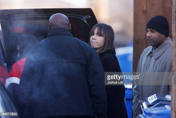 Patricia Blagojevich wife of Illinois Governor Rod Blagojevich and their daughter Amy Blagojevich are seen near their home December 12 2008 in...