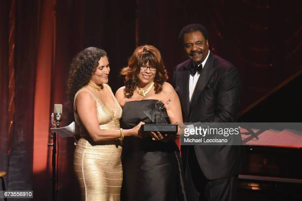 Patricia Blanchet and honorees Thelma Steward and David Steward pose onstage during the Jazz at Lincoln Center 2017 Gala Ella at 100 Forever the...