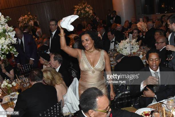 Patricia Blanchet dances during a second line parade during at Jazz at Lincoln Center 2017 Gala Ella at 100 Forever the First Lady of Song on April...