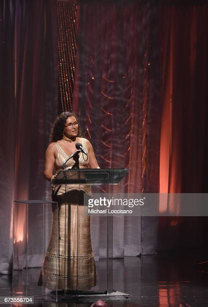 Patricia Blanchet speaks onstage during the Jazz at Lincoln Center 2017 Gala Ella at 100 Forever the First Lady of Song on April 26 2017 in New York...