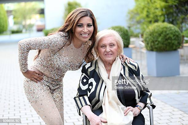 Patricia Blanco and her mother Mireille Blanco, ex wife of Roberto Blanco, shooting before the 11th anniversary of 'Bachmaier Hofbraeu' in Munich on...