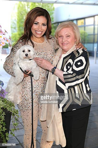 Patricia Blanco and her mother Mireille Blanco, ex wife of Roberto Blanco and her dog Sissi, shooting before the 11th anniversary of 'Bachmaier...