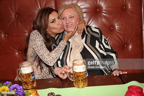 Patricia Blanco and her mother Mireille Blanco former wife of Roberto Blanco with beer during the 11th anniversary 'Highway to Helles' of 'Bachmaier...
