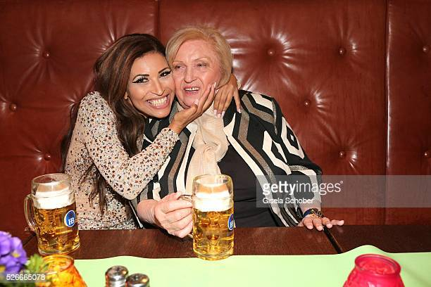 Patricia Blanco and her mother Mireille Blanco, former wife of Roberto Blanco with beer during the 11th anniversary 'Highway to Helles' of 'Bachmaier...