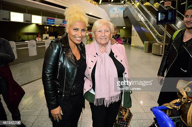 Patricia Blanco and her mother Mireille Blanco pose before the flight to Australia as a participant in the 2015 RTLTVShow 'Dschungelcamp Ich bin ein...