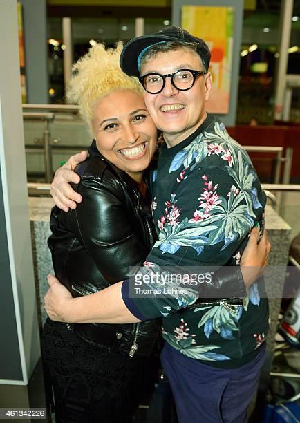 Patricia Blanco and Rolf Scheider pose before the flight to Australia as a participant in the 2015 RTLTVShow 'Dschungelcamp Ich bin ein Star Holt...