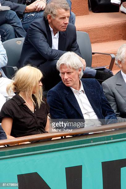 Patricia Borg and Bjorn Borg attend the 2008 French Open at the Roland Garros on June 6 2008 in Paris France