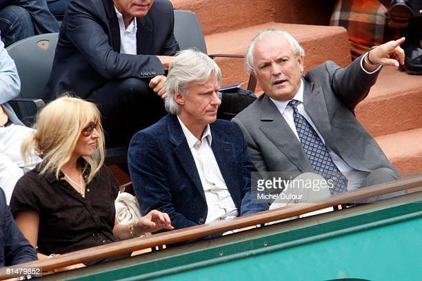 Patricia Borg Bjorn Borg and Christian Bime attend the 2008 French Open at the Roland Garros on June 6 2008 in Paris France