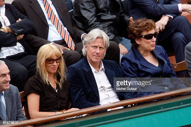 Patricia Borg Bjorn Borg and Minister Roseline Bachelot attend the 2008 French Open at the Roland Garros on June 6 2008 in Paris France