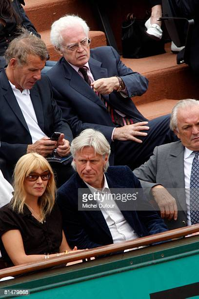 Patricia Borg Patrick Poivre d'Arvor Bjorn Borg and Lionel Jospin attend the 2008 French Open at the Roland Garros on June 6 2008 in Paris France
