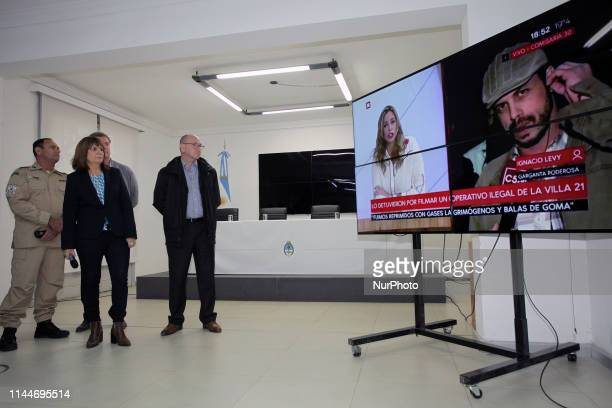 Patricia Bullrich gave a press conference in the case of abuse and torture in the village in Buenos Aires Argentina on 8 June 2018